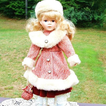 Vintage Porcelain Doll , Collectible Doll, Gift For Girl , Blonde Hair Doll , 1970 s Fur Hat , Fur Coat , Unique 1-5000 , With Stand
