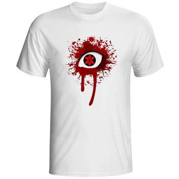 Bloody Mirror Wheel Eye T Shirt Sharingan Naruto Itachi Ninja Skate Hip Hop Punk T-shirt Brand Design 3D Anime Unisex Tee