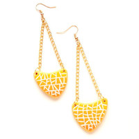 Polymer clay fashion earrings ombre yellow mosaic arrow shaped asymmetrical geometrical dangle earrings