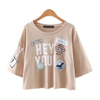 Cute Letter Print and Patch Summer Cropped Top Shirt