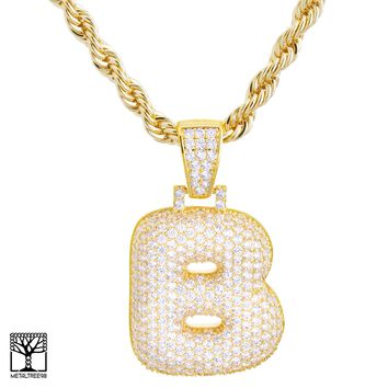"Jewelry Kay style Iced CZ Custom Bubble Letter B Initial Gold Plated Pendant 24"" Chain Necklace"