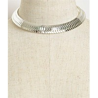 Silver Layered Choker Necklace