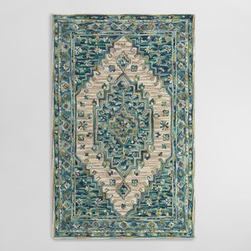 Blue Tufted Wool Zahra Caravan Area Rug