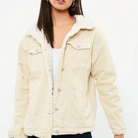 Missguided - Cream Borg Lined Denim Jacket