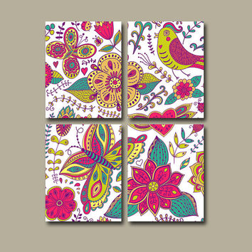 Nursery Wall Art Canvas Pottery Pink Purple Turquoise Green Bedroom Doodle Paisley Decor Bird Butterfly Floral Set of 4 Prints Bedding