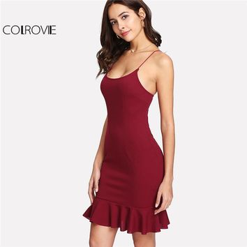 COLROVIE 2018 Spaghetti Strap Sleeveless Party Dress Burgundy Ruffle Hem Form Fitted Short Cami Dress Women Plain Bodycon Dress