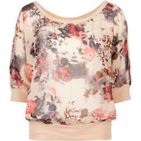 DIALED UP 3/4 Sleeve Floral Chiffon Womens Top | Tillys.com