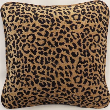 "Leopard Chenille Throw Pillow 18"" Square Big and Soft  Gold and Black Welted Cover and Insert Ready To Ship"