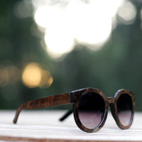 Beautiful Walnut Burl Wood Veneer Women's Sunglasses