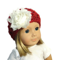 18 Inch Doll Accessories Hat Red White Flower