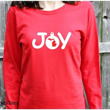 Michigan Joy Ornament Shirt, Christmas Michigan Shirt, Mitten Shirt