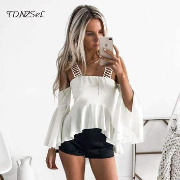 Elegant Cold Shoulder Tunic Tops Halter Ruffle Sleeve White T Shirt Women Casual Short Blouses Ladies Beach