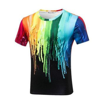 PEAPFS2 Plus Size 3XL Stretch Sport Tee Funny 3D T-shirts Men Splashed Paint Ink T shirts Long Sleeve Round Neck Printed Quick Dry Tops