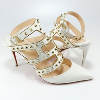 Christian Louboutin 41 EU White Tchicaboum 85mm Cage Spike Heels Sandals A289