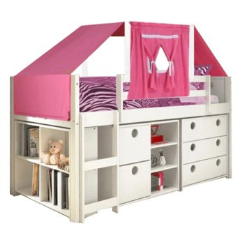 Alyssa Junior Loft Bed with Dressers and Pink Tent