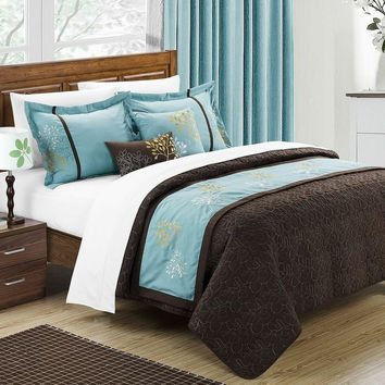 King size 6-Piece Comforter Set in Blue Brown Floral w/ Quilted Coverlet