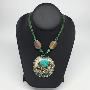 Turkmen Necklace Afghan Ethnic Tribal Turquoise Inlay Beaded Pendant Necklace VS164
