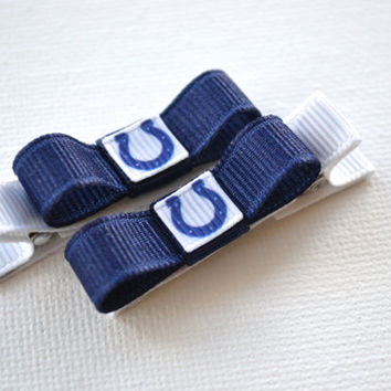 Indianapolis Colts Hair Clips - Toddler Hair Clips - Indianapolis Colts Bows - Indianapolis Colts Stocking Stuffer