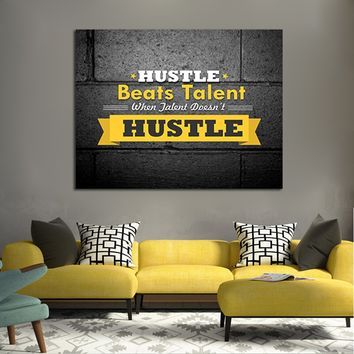 Hustle Beats Talent Framed Canvas Wall Art Office Art Motivational