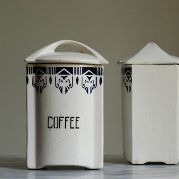 Vintage Kitchen Canisters in White Ceramic, Art Deco Style