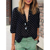Black Polka Dot Print Long Sleeve Loose Shirt