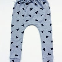 Gray harem pants with black triangles. Comfy baby or toddler pants with cuffs. Sweat fabric. Sweat pants. Slim fit harem pants.