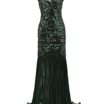 Green 1920s Sequin Maxi Flapper Dress