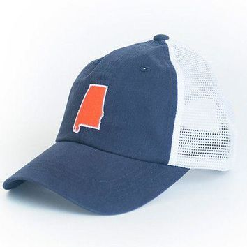 Alabama Auburn Gameday Trucker Hat in Navy by State Traditions