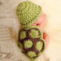 Baby Girl Boy Newborn Turtle Knit Crochet Clothes Beanie Hat Outfit Photo Props (Size: 85 g, Color: Green)