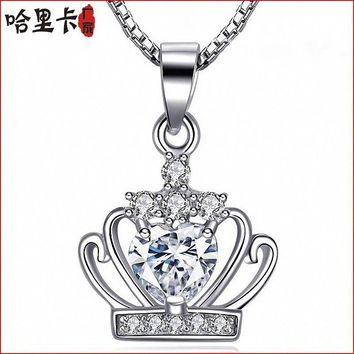 Imperial crown Design Colorful Crystal Party Jewelry Necklace Gift Fashion Chain