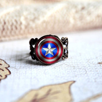 Captain America Sield adjustable fan ring - Unique custom jewelry - Glass cabochon CA