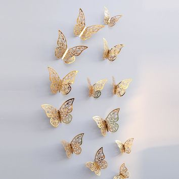 12 Pcs 3D Hollow Wall Stickers Butterfly Fridge for Home kitchen kids rooms Decoration New accessories adesivo de parede #TX