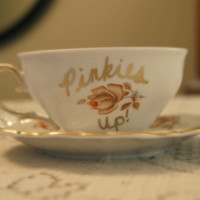 Pinkies Up! Vintage Tea Cup Set/Gold Plated/Customizable