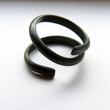 Black spiral. handcrafted open ring, oxidised sterling silver ring