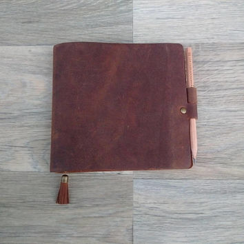 Leather A6 Notebook, Leather A6 Notepad Cover, Leather A6 Journal, A6 Notepad, leather A6 notepad,FREE SHIPPING