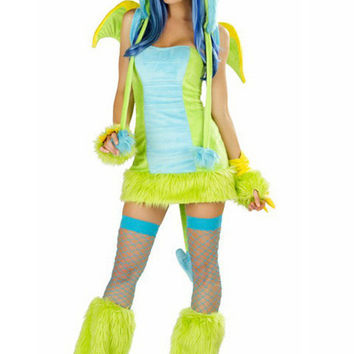 Yellow Fluffy Green Dinosaur Party Cosplay