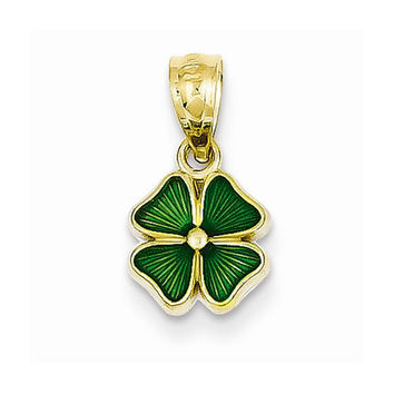 14k Yellow Gold Green Four Leaf Clover Pendant