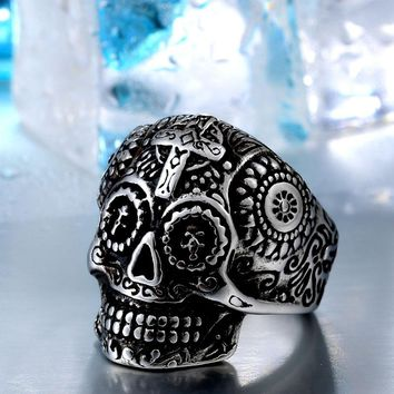 Cool Gothic Carving Ring Man Stainless Steel High Quality Detail Biker Skull Jewelry For Boy