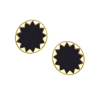 House of Harlow 1960 Sunburst Button Earrings in Black Leather