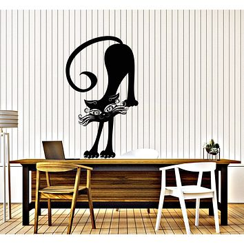Vinyl Decal Wall Sticker Cat Kitty Black Stretches Elbow Paw Decor Unique Gift (n751)