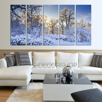 Winter Landscape Canvas Print Snow Canvas Art Prints For Wall - Green Trees Large Art Canvas Printing - Wall Art Canvas