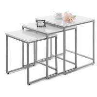 3PC Metal Frame Nesting Tables Set/ Furniture For Living Room/ Sofa Coffee Tables