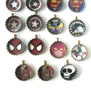 Jewellery Recycled Bottle cap Pendants Superheroes  Necklace