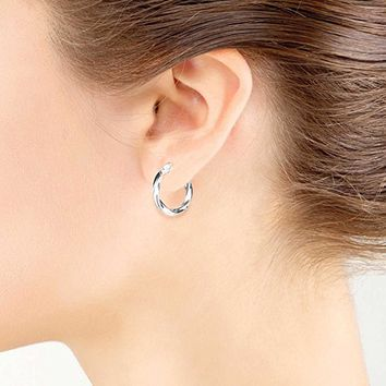 Sterling Silver High Polished Twist Round Click-Top Hoop Earrings, All Sizes