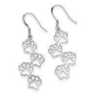 Sterling Silver Paw Prints Dangle Earrings