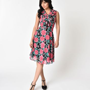 Hell Bunny Black & Rose Print Chiffon Eden Swing Dress