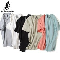 Pioneer Camp brand clothing Solid men t shirt casual personality o-neck T-shirt male Top quality bamboo cotton stretch Tshirt