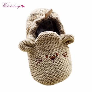 Infant Toddler Baby Knit Cute Mouse Shoes Newborn Boy Girl Cartoon First Walkers 0-18M