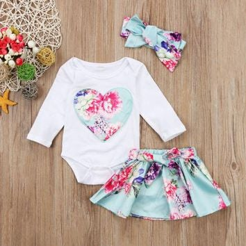 3 Pcs Baby Girls Floral Long Sleeved Top and Skirt with Matching Headwrap