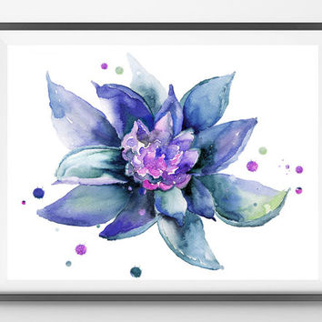 Water Lily flower Watercolor Print, Wall Art, Home decor, Giclee Print Blue flower illustration abstract waterlily watercolor sketch [N176]